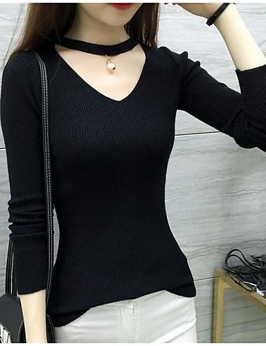 Damen Standard Pullover-Lässig/Alltäglich Solide V-Ausschnitt Langarm Baumwolle Frühling Herbst Mittel Mikro-elastisch