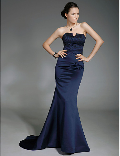 Mermaid / Trumpet Strapless Sweep / Brush Train Satin Open Back / Celebrity Style Formal Evening Dress with Beading by TS Couture®