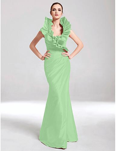 9cb32c0cbf Syrena W serek Sięgająca podłoża Tafta Kolacja oficjalna Sukienka z  Drapowania boczna   Falbany przez TS Couture®