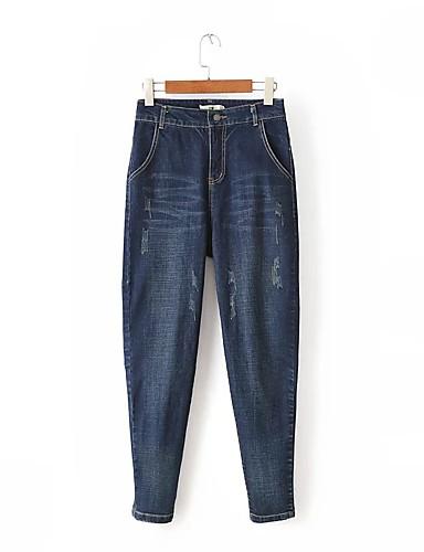 Damen Street Schick Mittlere Hüfthöhe Mikro-elastisch Haremshosen Jeans Chinos Hose,Baumwolle Leinen Winter Frühling Sommer Herbst Solide