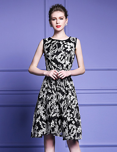 Damen A-Linie Hülle Swing Kleid-Ausgehen Lässig/Alltäglich Einfach Street Schick Anspruchsvoll Einfarbig Stickerei Rundhalsausschnitt