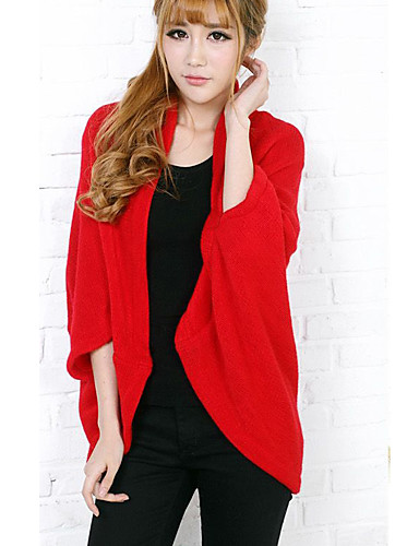 Women's Long Sleeves Cardigan - Solid Stand