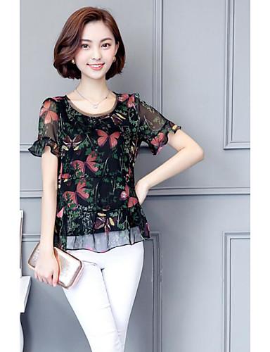 Damen Blumen Einfach Ausgehen Lässig/Alltäglich Bluse,Rundhalsausschnitt Kurzarm Polyester