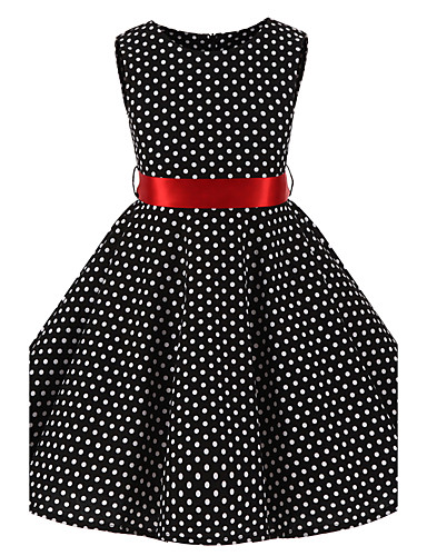 Girl's Polka Dot Dress, Cotton All Seasons Sleeveless Bow Black