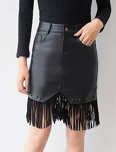 Women's Holiday Street chic Plus Size Bodycon Skirts - Solid Colored Tassel / Rivet