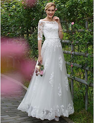 A-vonalú Hercegnő Aszimmetrikus Földig érő Csipke Tüll Egyéni esküvői ruhák val vel Rátétek Selyemövek / Szalagok által LAN TING BRIDE®