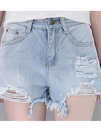 Damen Einfach Hohe Hüfthöhe Unelastisch Jeans Lose Hose Solide