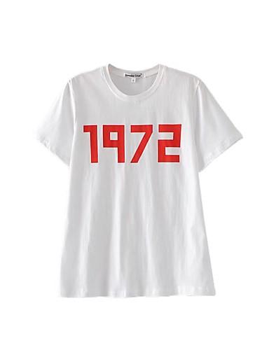 Damen Buchstabe Einfach Street Schick Ausgehen Lässig/Alltäglich T-shirt,Rundhalsausschnitt Sommer Kurzarm Seide Baumwolle Dünn Mittel