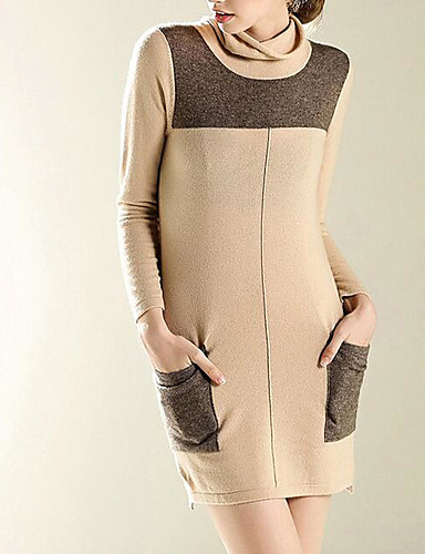 Damen Standard Pullover-Ausgehen Lässig/Alltäglich Retro Einfach Niedlich Solide Rollkragen Langarm Wolle Baumwolle Polyester Herbst