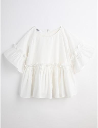 Mädchen Bluse Solide Baumwolle Sommer Kurzarm Weiß