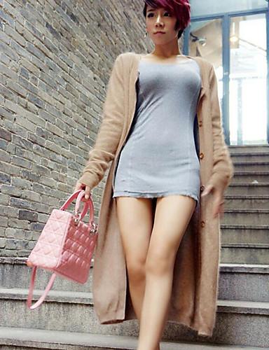 Damen Lang Strickjacke-Lässig/Alltäglich Solide Rundhalsausschnitt Langarm Baumwolle Frühling Winter Mittel Mikro-elastisch