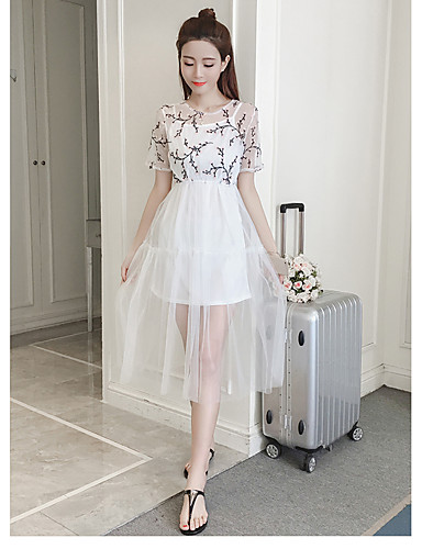 Damen Swing Kleid-Lässig/Alltäglich Einfach Druck Rundhalsausschnitt Midi Kurzarm Kunstseide Sommer Hohe Hüfthöhe Mikro-elastisch Mittel