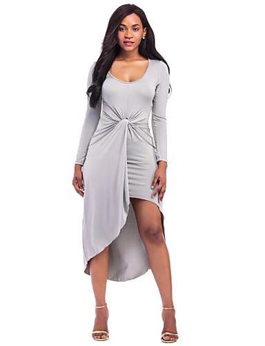 Damen Bodycon Kleid-Ausgehen Retro Solide Rundhalsausschnitt Knielang Langarm Baumwolle Acryl Frühling Herbst Mittlere Hüfthöhe