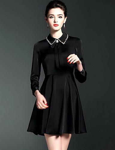 Damen Hülle Kleid-Lässig/Alltäglich Solide Hemdkragen Übers Knie 3/4 Ärmel Baumwolle Herbst Mittlere Hüfthöhe Mikro-elastisch Mittel