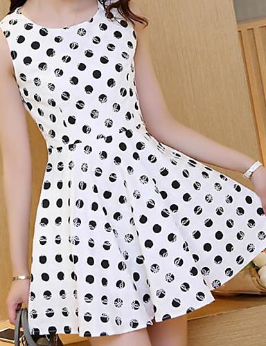 Damen A-Linie Kleid-Lässig/Alltäglich Niedlich Punkt Rundhalsausschnitt Übers Knie Ärmellos Baumwolle Nylon Frühling Mittlere Hüfthöhe