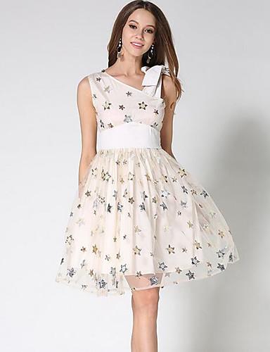 Damen A-Linie Kleid-Party Anspruchsvoll Geometrisch V-Ausschnitt Übers Knie Ärmellos Acryl Sommer Herbst Mittlere Hüfthöhe Unelastisch