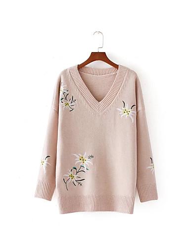 Damen Standard Pullover-Ausgehen Lässig/Alltäglich Einfach Niedlich Solide V-Ausschnitt Langarm Baumwolle Andere Frühling Herbst Dünn