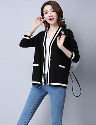 Damen Standard Strickjacke-Lässig/Alltäglich Solide V-Ausschnitt Langarm Baumwolle Andere Frühling Herbst Mittel Mikro-elastisch