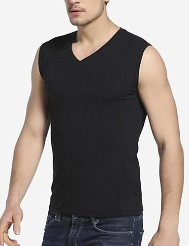 Herren Solide Einfach Lässig/Alltäglich T-shirt,V-Ausschnitt Ärmellos Polyester