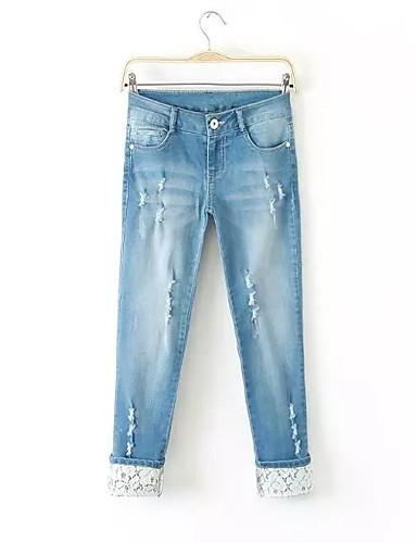 Damen Street Schick Mittlere Hüfthöhe Mikro-elastisch Lose Jeans Chinos Hose Frühling Sommer Herbst Solide