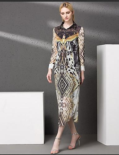 Damen Hülle Kleid-Lässig/Alltäglich Druck Ständer Midi Langarm Polyester Herbst Mittlere Hüfthöhe Mikro-elastisch Mittel