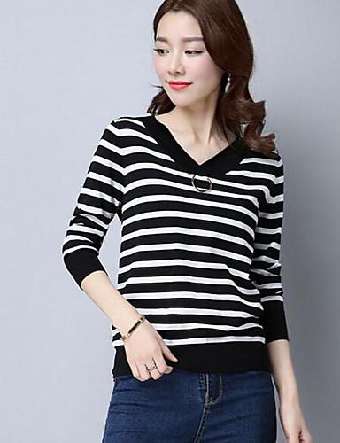 Damen Standard Pullover-Lässig/Alltäglich Gestreift V-Ausschnitt Langarm Baumwolle Andere Herbst Winter Mittel Mikro-elastisch
