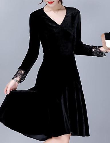 Női Extra méret Alkalmi Bársony Hüvely Ruha Egyszínű Térdig érő V-alakú Fekete
