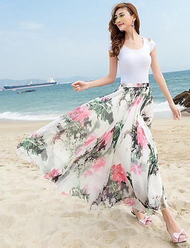 Damen Vintage Einfach Niedlich Strand Sport Ausgehen Lässig/Alltäglich Urlaub Midi Röcke Schaukel Trompete/Meerjungfrau,Blumig Blumen