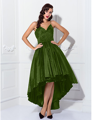 ad3d8c358f73 Βραδινή τουαλέτα Λεπτές Τιράντες Ασύμμετρο Ταφτάς Κοκτέιλ Πάρτι    Χοροεσπερίδα Φόρεμα με Πιασίματα   Πλισέ με TS Couture®