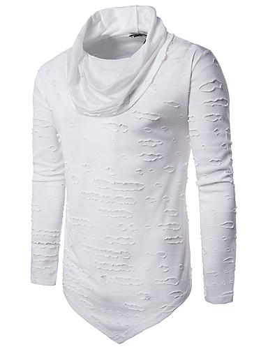 Men's Punk & Gothic Cotton Slim T-shirt - Solid Colored Turtleneck