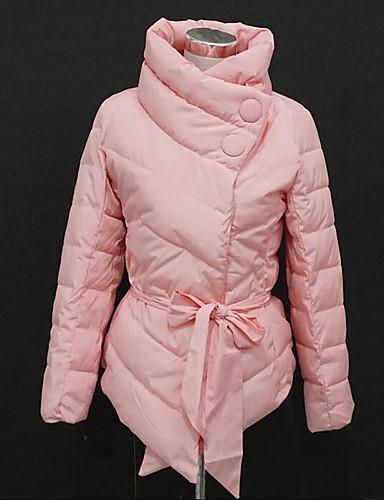 Damen Gefüttert Mantel,Kurz Sexy Einfach Niedlich Ausgehen Lässig/Alltäglich Arbeit Solide Druck-Baumwolle Acryl Polyester Polyester