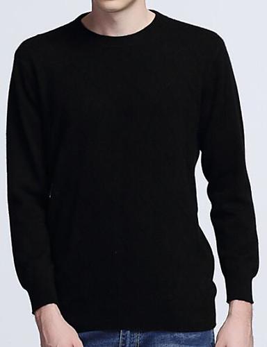Herren Standard Pullover-Lässig/Alltäglich Einfach Solide Rundhalsausschnitt Langarm Kaschmir Frühling Mittel Dehnbar