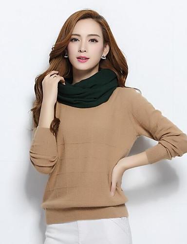 Damen Standard Strickjacke-Lässig/Alltäglich Solide Rundhalsausschnitt Langarm Wolle Herbst Winter Mittel Mikro-elastisch
