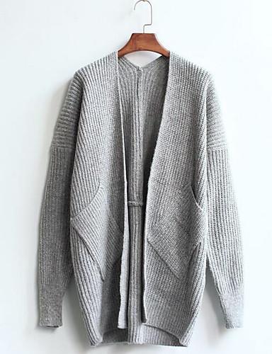 Damen Lang Strickjacke-Lässig/Alltäglich Einfach Solide V-Ausschnitt Langarm Baumwolle Herbst Winter Mittel Mikro-elastisch