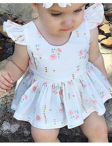 Mädchen Kleid Blumen Baumwolle Sommer Ärmellos