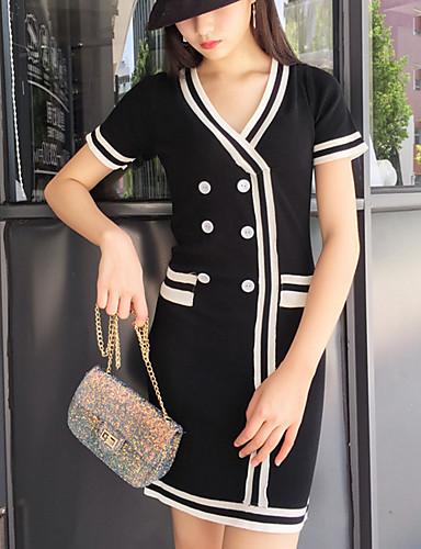 Damen Etuikleid Kleid-Lässig/Alltäglich Solide V-Ausschnitt Übers Knie Kurzarm Nylon Sommer Hohe Hüfthöhe Mikro-elastisch Dünn