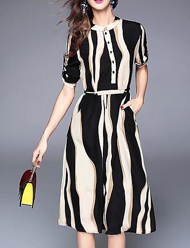 Damen Hülle Kleid-Lässig/Alltäglich Einfach Gestreift Rundhalsausschnitt Midi Kurzarm Polyester Frühling Sommer Mittlere Hüfthöhe