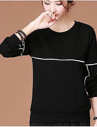 Damen Solide Einfach Lässig/Alltäglich T-shirt,Rundhalsausschnitt Herbst Winter Langarm Baumwolle Dünn