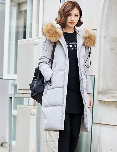 Damen Daunenjacke Mantel,Lang Einfach Lässig/Alltäglich Solide-Polyester Polypropylen Langarm