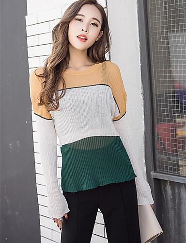 Damen Standard Pullover-Festtage Einfarbig Rundhalsausschnitt Langarm Andere Frühling Dünn Mikro-elastisch