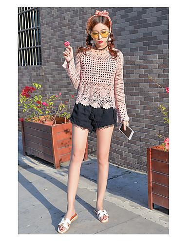 Damen Grid / Plaid Street Schick Ausgehen T-Shirt-Ärmel Hose Anzüge,Rundhalsausschnitt Sommer Lange Ärmel Ausgehöhlt Unelastisch