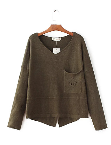 Damen Standard Pullover-Ausgehen Lässig/Alltäglich Einfach Solide Druck V-Ausschnitt Langarm Wolle Baumwolle Frühling Herbst Dünn Mittel