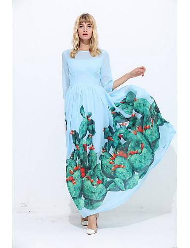 Damen Lose Hülle Kleid-Ausgehen Lässig/Alltäglich Einfach Geometrisch Rundhalsausschnitt Maxi 3/4 Ärmel Seide Frühling SommerMittlere