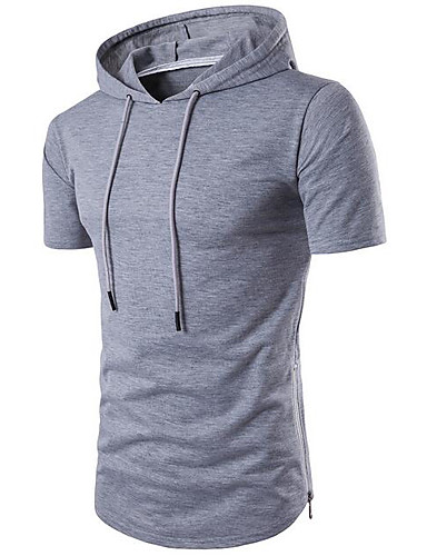 Herren Solide Einfach Lässig/Alltäglich T-shirt,Mit Kapuze Sommer Kurzarm Baumwolle