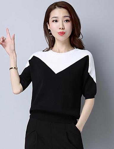 Damen Standard Pullover-Lässig/Alltäglich Solide Druck Einfarbig Rundhalsausschnitt Halbe Ärmel Leinen Andere Frühling Sommer Mittel