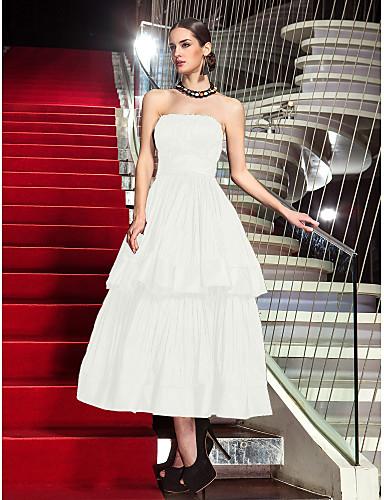 abordables Robes de Fête-Trapèze Sans Bretelles Longueur Genou Taffetas Robe avec Plissé par TS Couture®