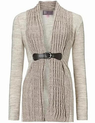 Damen Lang Strickjacke-Ausgehen Lässig/Alltäglich Street Schick Solide Ständer Langarm Baumwolle Herbst Mittel Mikro-elastisch