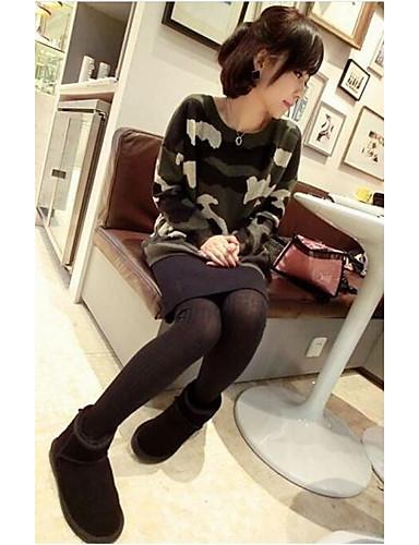 Damen Standard Pullover-Ausgehen Lässig/Alltäglich Einfach Druck Rundhalsausschnitt Langarm Baumwolle Frühling Mittel Mikro-elastisch