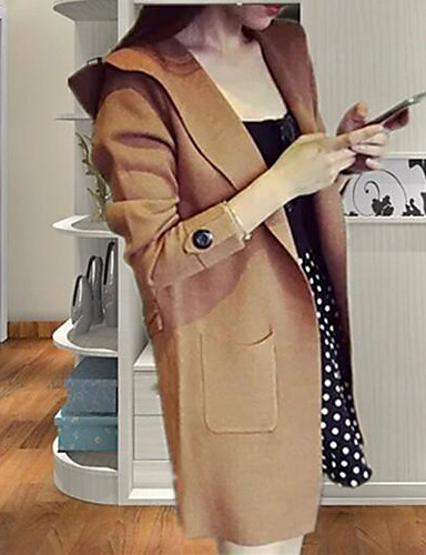 Damen Strickjacke - Solide Hemdkragen