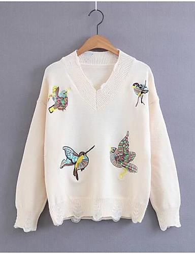 Damen Standard Pullover-Lässig/Alltäglich Druck V-Ausschnitt Langarm Andere Frühling Herbst Mittel Mikro-elastisch